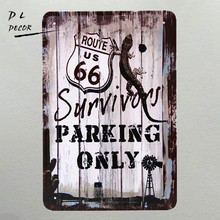 DL-vintage parking only wall hanging poster Garage shop Restaurant wall iron painting Mix order 20*30 CM(China)
