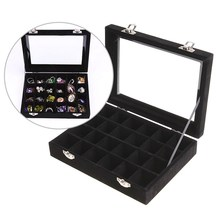 24 Grids Velvet Jewelry Box Rings Earrings Necklaces Makeup Holder Case Organizer Women Jewelery Storage