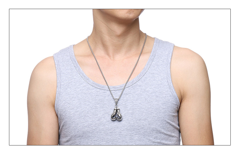 Meaeguet Stainless Steel Chain Pair Boxing Glove Pendant Charm Fitness Rock Punk Jewelry Collar de Cadena Cool Necklace (1)