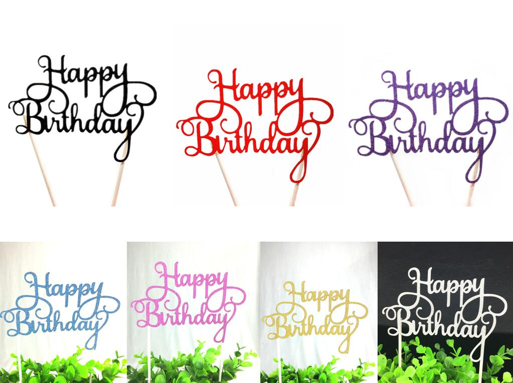 1pc Creative Cake Topper Happy Birthday Flags Colorful Double Stick For Family Birthday Party Cake Baking Decoration Supplies