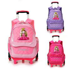 2/6 Wheels Children School bags Primary student trolley backpack Girls rolling luggage travel bag on wheels Detachable Backpack(China)