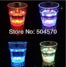 24pcs/lot 3XLEDs Night Festival Party Pub Bar Ball LED Wine Drinking Glass Cups LED Plastic Glowing Tableware Dinnerware