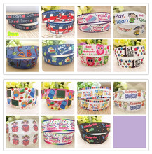 Free shipping 7/8'' 22mm 1st grade ABC school days printed grosgrain ribbon clothing accessory Bow Material Gift Wrap 10 yards(China)