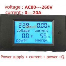New 20A AC Digital LED Power Panel Meter Monitor Power Energy Voltmeter Ammeter free shipping(China)
