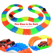 DIY Slot Roller Coaster Glow race track Bend Flex Glow in the Dark Assembly Toy Race Track 80/112/168/224pcs with 1pc LED Car(China)