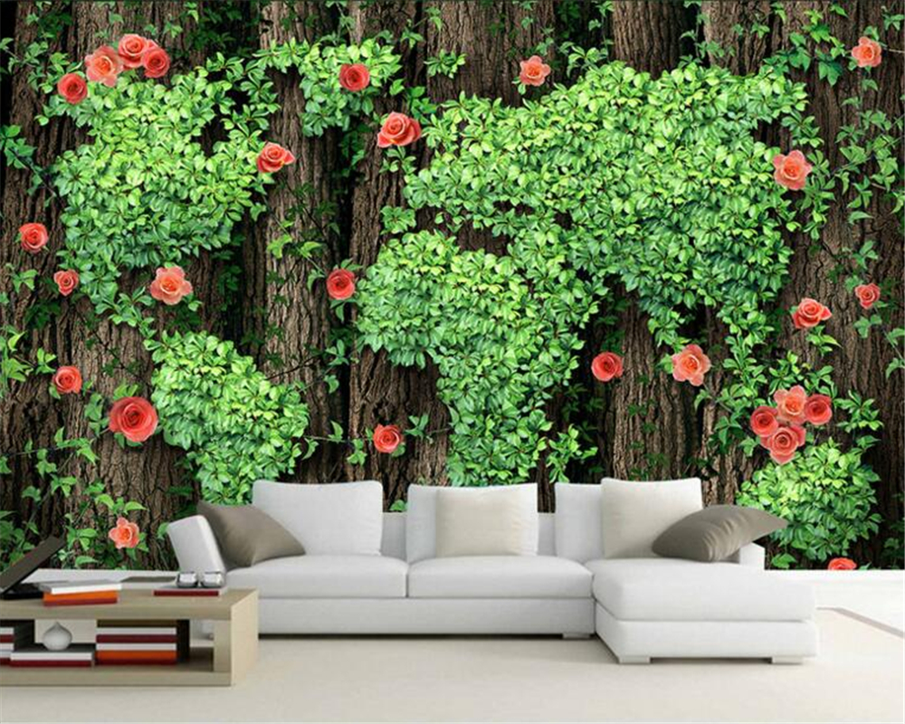 3D Wallpapers Photographs Trees Roses Roses Vines Green Leaves Decorative Wallpapers Living Room Mural papel de parede 3 d photo<br><br>Aliexpress