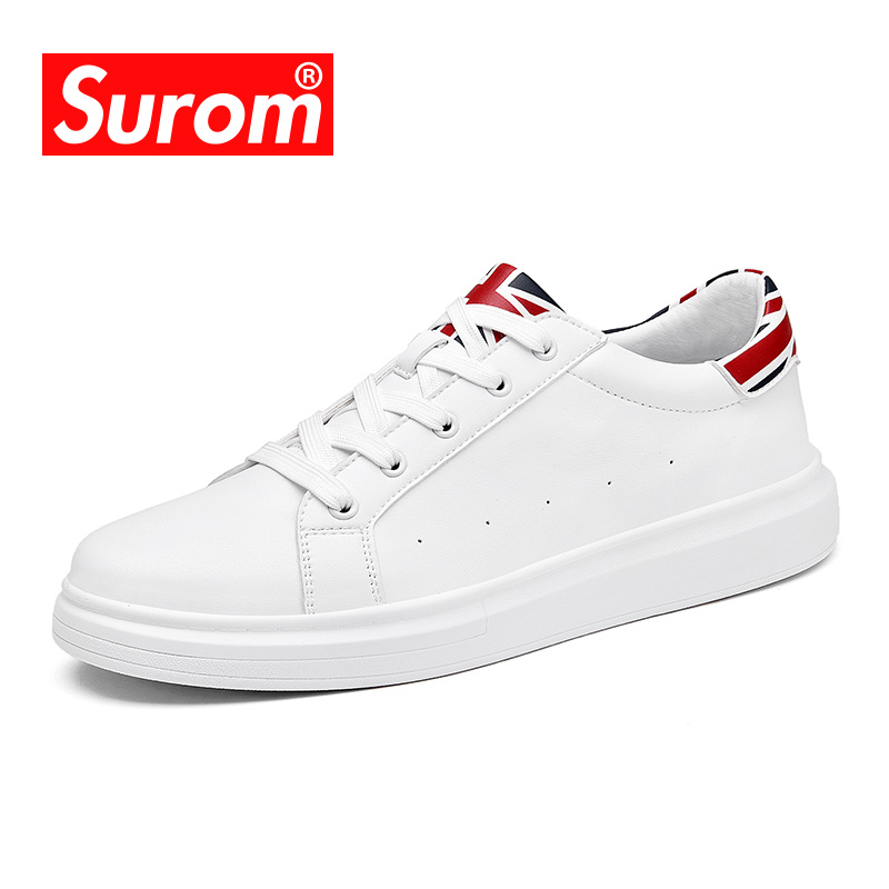 SUROM Brand Flats Men Shoes Black White Color Male Casual Sneakers Lace up Synthetic Leather Leisure Shoe tenis masculino adulto<br>