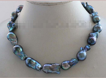"FREE SHIPPING  18"" Genuine Natural 25mm Black Baroque Reborn Keshi Pearl Necklace 14KGP #f2457!"