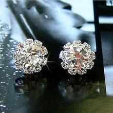CED03 New Women's Fashion Sparkling Rhinestone Ball Earrings Stud Earring Female(China)