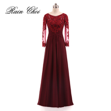 Long Evening Dress 2018 Appliques A Line Prom Gowns Long Sleeves Formal Evening Dresses(China)