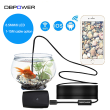 DBPOWER 8.5mm USB Endoscope Camera 1-15M Hard Soft Wire IP67 Waterproof Snake Tube Inspection Android IOS USB Borescope Camera