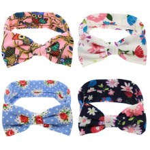 1PC Children Headwear Baby Large Bows Flower Headband Bottom Age Cotton Head Wrap Baby Hair Band Girls Hats Hair Accessories