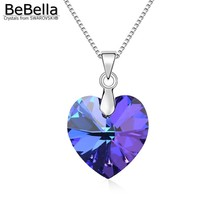 BeBella classic heart pendant necklace made with Swarovski Elements thin box chain for 2016 women Mother's Day gift