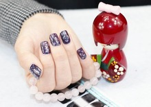 1 Set =  Nail Patch+Nail File +Flower + Full Nail Sticker Nail Decorations for Manicure