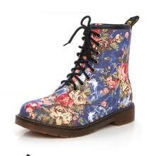 Autumn New Product Westward Cowboy Wind Handsome Cowboy Boots Retro Small Flowers Flat With High BootsFor Women Martin(China)