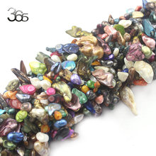 "Free Shipping 8-16mm Wholesale Lot Mixed Colors Colorful Jewlery Making Mixed Freeform Teeth Pearl Beads Loose Beads Strand 15""(China)"
