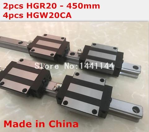 HG linear guide 2pcs HGR20 - 450mm + 4pcs HGW20CA linear block carriage CNC parts<br>