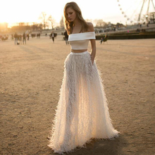 Luxury Feather Beige Off Shoulder Floor Length two Pieces Evening Dress Long 2 Pieces Women Red Carpet Prom Celebrity Maxi Gown