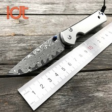 LDT Small Sebenza Tiatnium Handle Folding Knife Damascus Blade Tactical Pocket Knife Camping Survival Hunting Knives EDC Tools