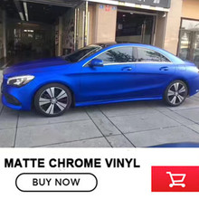 Premium Polymeric PVC Deep blue Matte Chrome Vinyl Car Wraps Sticker Color Changing Car Sticker With Air channel free shipping(China)