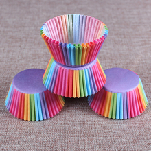 100PCS Rainbow Color Cupcake Paper Case Muffin Cake Mold Cup Cake Tray Fondant Decorating Tools