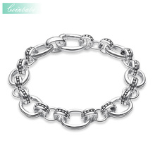 Bracelets Link Chain 925 Sterling Silver For Women And Rebel Men Punk Gift Thomas Style Heart Bracelet Fit Ts Charms(China)
