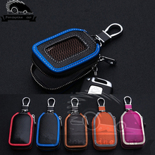 Leather Car Key Wallets For Audi Mercedes Peugeot Toyota Honda Vw Skoda Bmw Hyundai Chevrolet Mazda Ford Kia Car Key Bag Case(China)