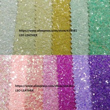 PG012 Chunky Glitter Leather Fluo Colors high quality PU Glitter Fabric for DIY sewing P334