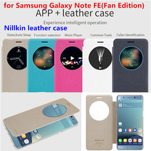New Coming Original Nillkin Window APP+ Leather Cover Case for Samsung Galaxy Note FE(Fan Edition) / note 7 Sleep Function case(China)