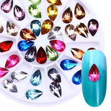 Water Drop Crystal 3D Nail Decorations in Wheel Colorful Flat Bottom Nail Rhinestones Body Art Manicure Nail Decoration UV Gel