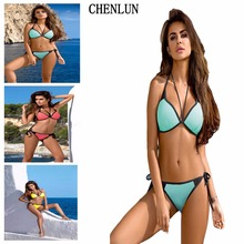Sexy bikini ladies swimsuit 2017 new summer bikini suit multi color push swimwear Plus size ladies swimsuit AL562(China)
