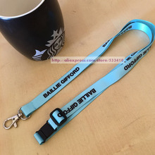 100pcs/lot light blue straps lanyard with your brand logo for party /id badge holder mobile neck with free shipping by fedex