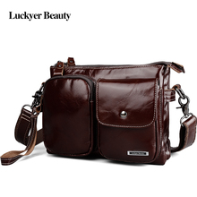 LUCKYER BEAUTY Brand Genuine Leather Male Shoulder Bags Multifunctional Business Messenger Bag High Capacity Crossbody Men Bags(China)