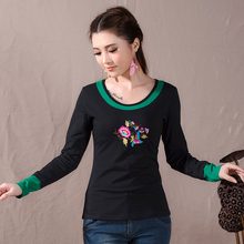 Vintage Base Shirt Mexican Style Ethnic Original Brand Long Sleeve Black Green Patchwork Embroidery t-shirt Plus Size Pullovers