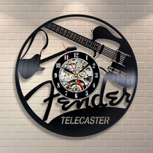 1Piece Fender Telecaster Guitar Vinyl Record Wall Mounted Clock Antique Room Decor Wall Display Art Clock Vintage Decoration