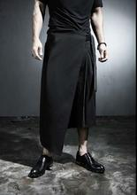 Men's Clothing Plus size Angle loose leisure Korean zipper wrap skirt culottes wide leg pants pants seven