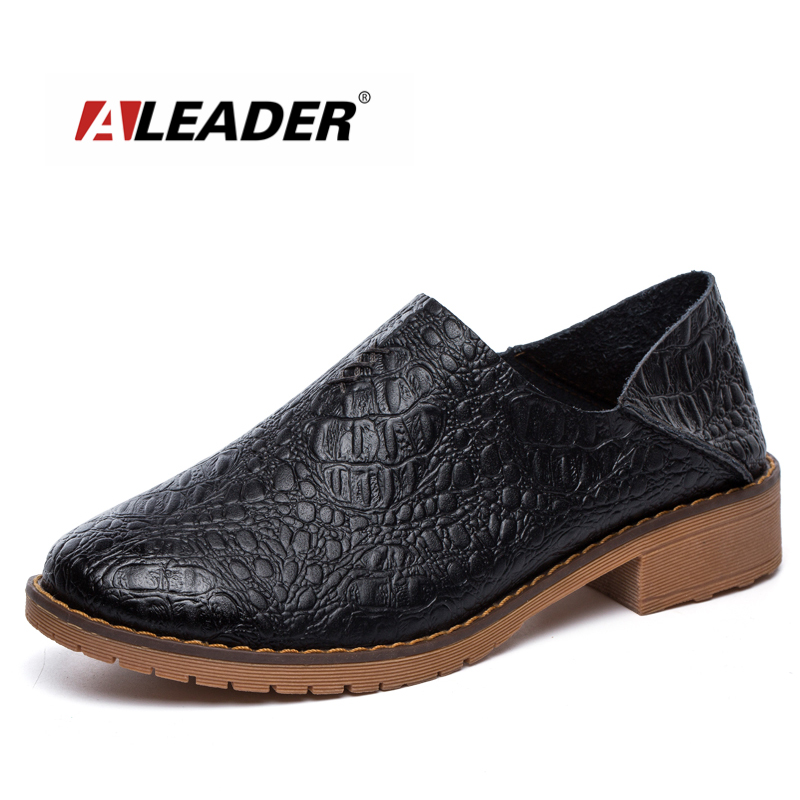 ALEADER High Quality Womens Oxford Genuine Leather Casual Shoes Women Leisure Black Loafers Slip On Fashion Brand Design Sandals<br>