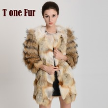 Free Shipping new Genuine red fox Fur coat with Raccoon Fur sleeve For Women Winter Warm Long Fur Coat FP330