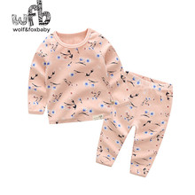 Retail 1-10 years set cotton long-sleeved T-shirt home service + pants printed flowers spring fall autumn