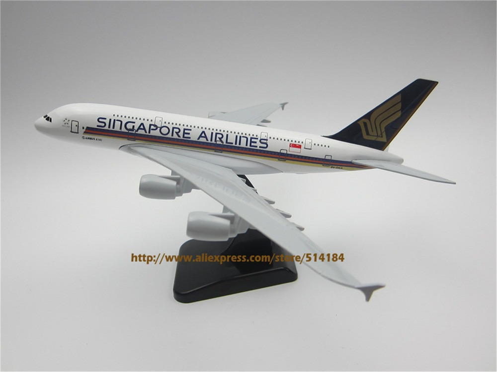 20cm Metal Alloy Plane Model Air Singapore Airlines A380 Aircraft Airbus 380 Airways Airplane Model w Stand(China (Mainland))