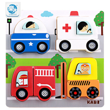 Logwood Kids Wooden 3D Puzzles Toys Cartoon animal traffic education jigsaw Puzzle Montessori toy for children gifts(China)
