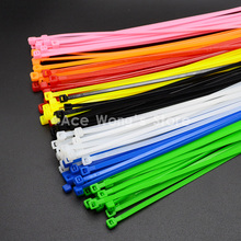 100Pcs/pack 4*200mm width 2.7mm Colorful Factory Standard Self-locking Plastic Nylon Cable Ties,Wire Zip Tie(China)