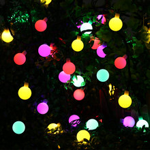 Globe Solar Powered Christmas Lights 21ft 50LED Multi Color Ball String Lights Decorative Lights for Indoor/Outdoor,Garden,Party(China)