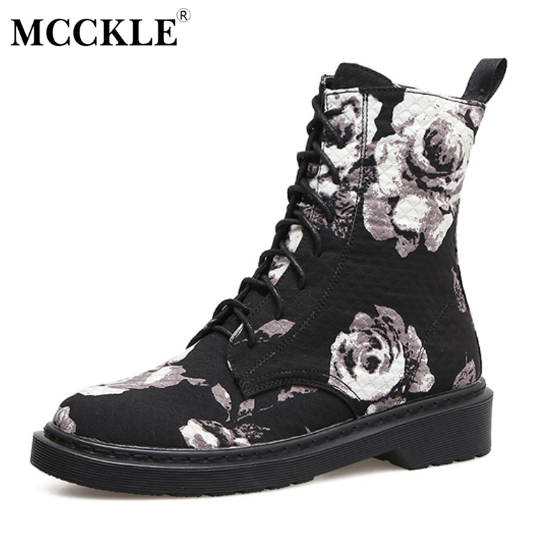 MCCKLE 2017 Womens Flower Ankle Martin Boots Ladies Lace Up Platform Low Heel Canvas Vintage Classic Black Embroidery Shoes<br>