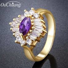 Hot sale High Quality Gold Plated CZ Diamond Big Red Purple Gem Rings For Charming Female  Engagement Wedding Finger Flower Ring