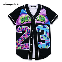 MTS130A Mens 3D T-Shirts Buttons Homme Streetwear Tees Shirts Hip Hop Bel Air 23 - Fresh Prince Custom Made Baseball Jersey Tops(China)