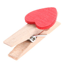 50pcs Min Love The Small Red Wooden Clip Log Photos Clip for Wedding Party Decoration