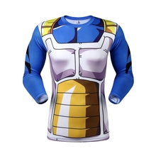 Dragon Ball Z Super Saiyan compression t shirt tees Vegeta Goku anime Long Sleeve T-shirt tops(China)