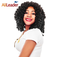 AliLeader Short Jamaican Bounce Wand Curl Black Blonde Brown Wine Red Crochet Braids Synthetic Curly Hair Extensions 1pcs/lot