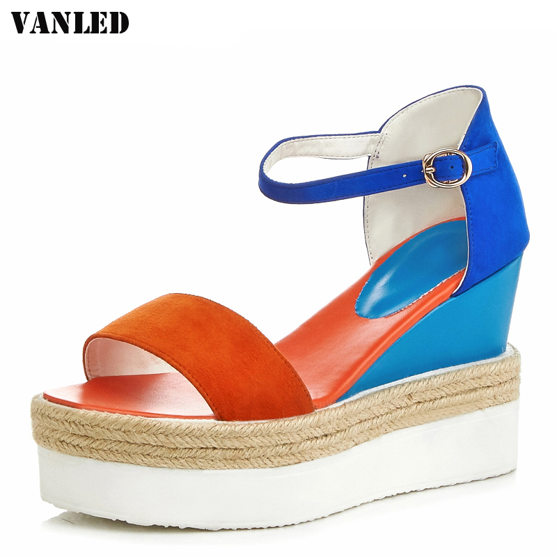 VANLED Genuine Leather Women Sandals 2017 Platform Sandals Flat Sandalias Mujer High Heels Sandals Women Brand Sandal Shoes <br>
